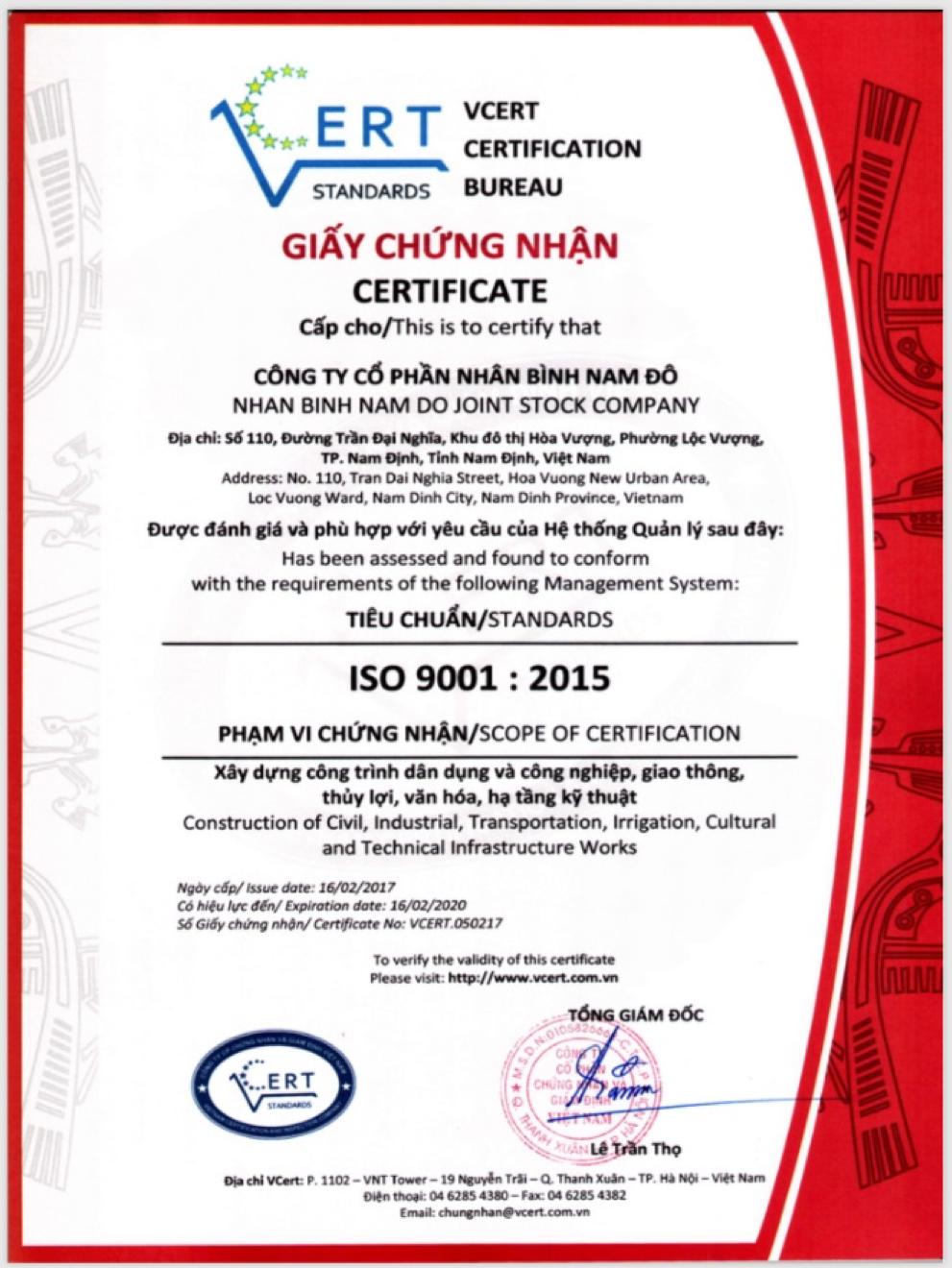 Giấy chứng nhận: ISO 9001 : 2015